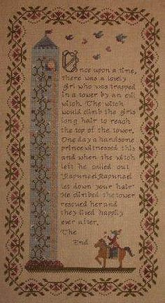 Willow Hill Samplings Rapunzel - Cross Stitch Pattern. Once Upon a time there was a lovely girl that was trapped in a tower by an evil witch.... The model was s