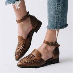 shoe lover Women Casual Slip-On Low Heel Sandals herhershoes Laminate Flooring: The Basics Article B Low Heel Sandals, Ankle Strap Heels, Ankle Straps, Low Heels, White Flat Shoes, Pointed Flats, Fashion Heels, Fashion Dresses, Women's Fashion