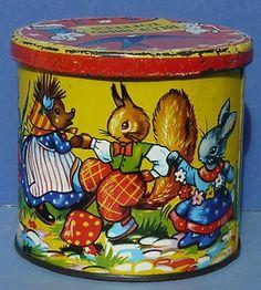 Vintage Blue Bird Rabbits Pixies Toffee Tin 1960s Harry Vincent Willy Schermele | eBay
