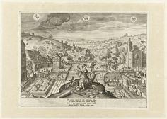 Johann Sadeler (I) | Lente, Johann Sadeler (I), 1580 | De Lente. De vrouwelijke personificatie van het seizoen van de Lente met bloemtakken in de handen, zittend in het midden op de voorgrond. Om haar heen op de grond ligt tuingereedschap. In het landschap achter haar worden tuinen verzorgd. Rechts een pergola en een kasteel. In de hemel de sterrenbeelden: Steenbok, Stier en Tweelingen. In het onderschrift een vers van 4 regels in het Latijn.