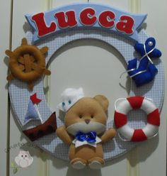 Corujinha Criativa: Enfeite de Porta de Maternidade Urso Marinheiro