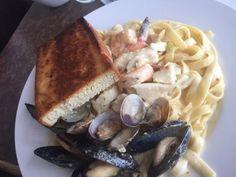 Seafood Fettucine, The Shady Rest Waterfront, Qualicum Beach, BC