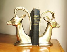 Vintage Brass Antelope Bookends, Brass Bookends, Hollywood Regency, Impala Bookends, Gazelle, Ram, Deer, Mid Century Bookends