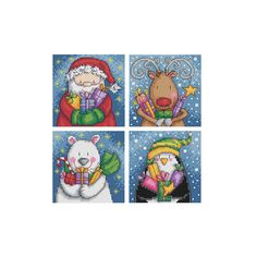 A of four cross stitch charts of santa and his helpers delivering Christmas presents. Would be ideal for cards.  Chart specs. each • stitch count - 50 x 50 stitches • finished size - 3.6 in x 3.6 in / 9 cm x 9 cm  when sewn on 14 count aida • stitches used - whole cross stitch and back stitch.  This chart arrives to you as an instant pdf download.  The pdf includes • full colour charts with symbols • key for DMC floss  ©2015 Durene Jones. My patterns are for personal use only.  Thank you...