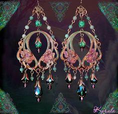 Long Emerald Green Bohemian Iris Flower Earrings, Vintage Brass Floral Art Nouveau Chandelier Earrings, Antique Plum, Green Aventurine