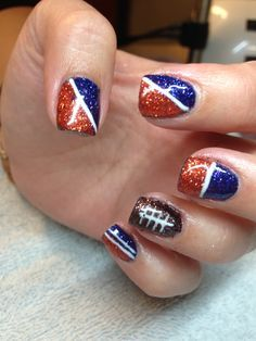 """Attention all Loa Fitness for Women members: """"Free"""" Bronco's nail polish change and/or Blue Hair Extensions for Loa gym members. The staff from the Adam & Eve Salon and Spa will be at the gym from am - pm offering these services. Football Nail Designs, Football Nail Art, Get Nails, How To Do Nails, Hair And Nails, Denver Broncos Nails, Cute Nail Designs, Manicure And Pedicure, Beauty Nails"""