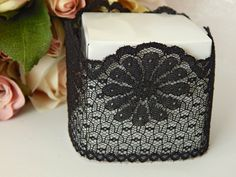 1 mtr x 5.5cm Width Black Lace - Perfect for Wedding Invitations or bomboniere boxes! - Hall Occasions