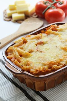 """""""Penne with bacon, baked"""" in Romanian Baked Penne, Pasta Noodles, Noodle Recipes, I Love Food, Apple Pie, Macaroni And Cheese, Bacon, Food And Drink, Ethnic Recipes"""