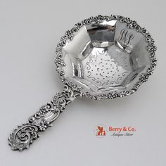 Ornate Tea Strainer Sterling Silver NY 1890 Fuchs and Beiderhase