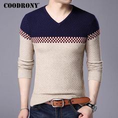 543b1405310c COODRONY 2017 Autumn Winter Warm Wool Sweaters Casual Hit Color Patchwork  V-neck Pullover Men Brand Slim Fit Cotton Sweater 155