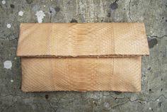 Cream Nude Pastel Fold Over Python Snakeskin Leather Clutch