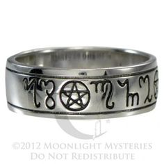 sterling silver handfasting theban pentacle wedding ring sz sz made of pure sterling silver available in sizes and half sizes - Wiccan Wedding Rings