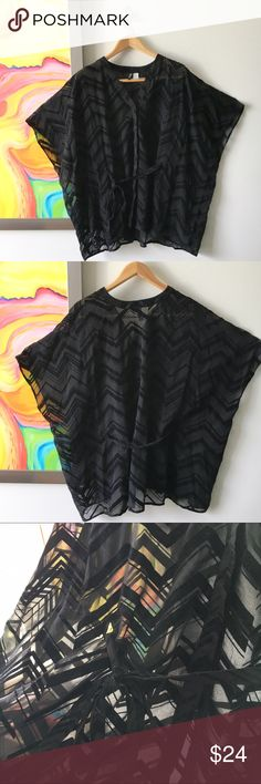 H&M Sheer Velvet Chevron Fancy Top Pre loved💕 This top was an amazing find! It is marked size 10, but literally fits comfortably size 8 through 24. The top is totally open and cinches with a belt. Pretty chevron velvet over sturdy sheer fabric. Wear with a nude or black camisole or elevate the sexy by doing a cute bralette😘 H&M Tops Blouses