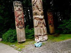 Meditation in Totem pole park in Sitka Alaska