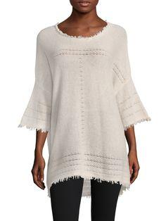 VELVET BY GRAHAM & SPENCER WOMEN'S CASHMERE FRINGE TUNIC - BEIGE/KHAKI, SIZE XL. #velvetbygrahamspencer #cloth #