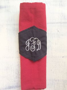 Custom monogrammed linen initial napkin rings, wedding napkin rings
