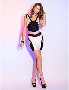bainha / coluna v-pescoço curto / mini vestido bandage graça