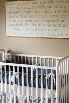 Project Nursery - Declan's Vintage Grey Nursery (LOVE THE QUOTE ON THE WALL! It's even more weird that the boys name is Declan!)