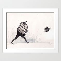 """I know why the caged bird...""  Art Print by Richard J. Bailey - $17.99"