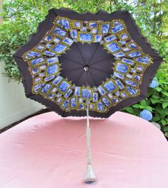 Vintage umbrella with jeweled handle, 1950's umbrella with double canopy, embossed and jeweled handle and jeweled ribs