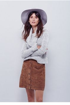 Free People Hold My Hand Cord Skirt | Corduroy skirt  button-up front.