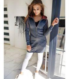 Śedá dámska mikina Livi Denim, Jackets, Fashion, Down Jackets, Moda, Fashion Styles, Fashion Illustrations, Jacket, Jeans