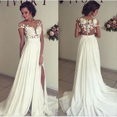 A Line See-through Bateau Off the Shoulder Lace Appliqued Floor length Beach Ivory Wedding Dress,Party Prom Dress
