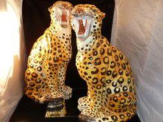 Vintage Leopard's / TIGER Statue Hollywood Regency Estate Italy Ceramic Cheetahs