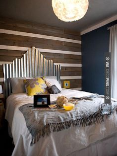 Nice - corigated metal head board | CHECK OUT MORE MASTER BEDROOM IDEAS AT…