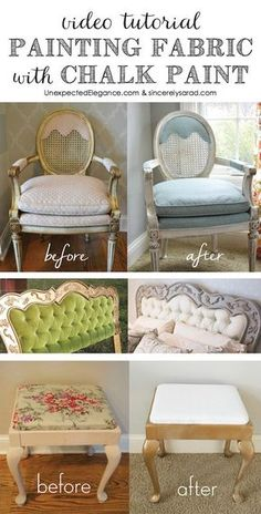 Video Tutorial: Painting Fabric with Chalk Paint - Sincerely, Sara D. DIY Video Tutorial: Painting Fabric with Chalk Paint Chalk Paint Fabric, Painting Fabric Furniture, Paint Upholstery, Chalk Paint Furniture, Chalk Painting, Fabric Painting, Chalk Paint Chairs, Paint Couch, Chalk Spray Paint