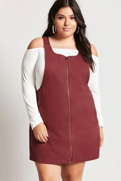 Product Name:Plus Size Denim Overall Dress, Category:plus_size-best-sellers, Price:27.9