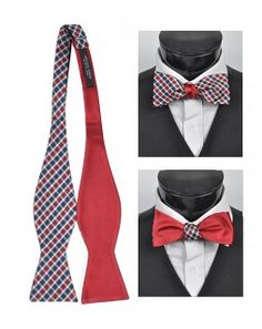 TheDapperTie - New Men's 100% Silk Woven Freestyle and Reversible Bow Tie - FRBS1080 $17.95