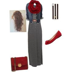 A fashion look from March 2015 featuring Vila Milano dresses, Jessica Simpson flats and Henri Bendel tech accessories. Browse and shop related looks. Mode Outfits, Fall Outfits, Casual Outfits, Fashion Outfits, Hijab Casual, Maxi Skirt Outfits, Striped Maxi Skirts, Striped Dress, Mini Skirts