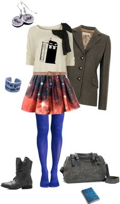 """Doctor Who"" by doomsdaydoctor on Polyvore - loving the skirt, if it were longer. And the earrings are the best.:"
