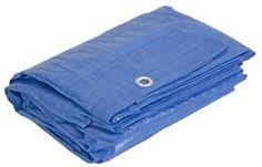 """Koch T516033 PE Tarp, 12 by 16 Feet, Blue by Koch. $13.97. From the Manufacturer                Koch Industries all-purpose blue polyethylene tarps are 3 mil. thick. These tarps are water, mildew, and tear resistant and can be used for general uses outdoors. Hems are rope reinforced and heat sealed and have corrosion resistant grommets every 3 feet and on each corner. Finished size is approximately 11'8"""" x 15'8""""."""