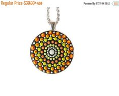 ON SALE orange yellow mandala spiritual jewelry gift for her by FloralFantasyDreams on Etsy Mandala Jewelry, Love Necklace, Pendant Necklace, Jewelry Gifts, Unique Jewelry, Spiritual Jewelry, Fused Glass, Silver Color, Orange Yellow