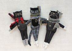 Mr Socks is a cunning fellow made from cotton with vintage and antique details. He is about 6 inches long and stuffed with wool. * If you'd like to make your own mr. socks you can find the…
