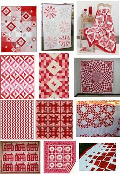 Free pattern day : Red and white quilts  (part 1).  Updated November 12, 2014.