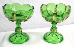 """EAPG - Riverside (2) - X-Ray Emerald Compotes-  w/ Gold Trim 5""""  High #Riverside"""