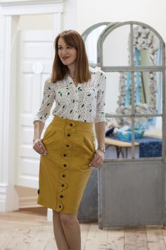 Anthropologie mustard yellow button front skirt with cute patterned blouse