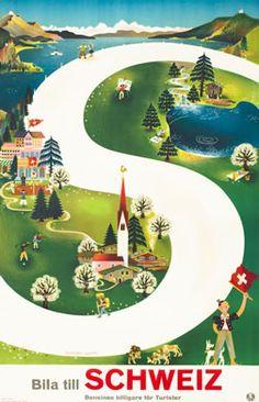 Leupin, Herbert. Bila Till Schweiz (Drive to Switzerland), 1939.  25 x 40 inches (64 x 102 cm)  Lithograph | Backed on linen
