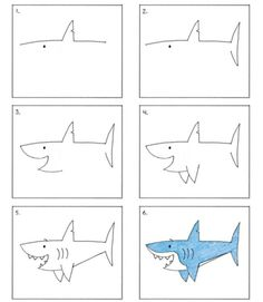 how to draw a shark - Drawing Tips Drawing Tips Easy Drawing Tutorial, Drawing Tutorials For Kids, Art Drawings For Kids, Drawing For Kids, Animal Drawings, Easy Drawings, Art For Kids, Draw Animals For Kids, Drawing Lessons