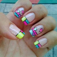 Pretty Nails - 32 Pretty Nails That Will Inspire You - Hashtag Nail Art Simple Nail Art Designs, Gel Nail Designs, Cute Nail Designs, Valentine Nail Art, Easter Nail Art, Ruby Nails, Holloween Nails, Manicure, Finger
