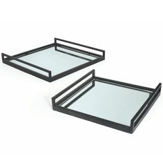 Rail Mirrored Tray - Set of 2