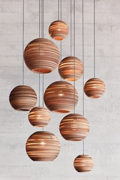 The Pendant's Round Cardboard Shade Filters Light in a Fascinating Way - The Moon Pendant Lamp Design by Graypants Unique Lighting, Lighting Design, Pendant Lighting, Pendant Lamps, Lantern Pendant, Ceiling Lamp, Ceiling Lights, Wood Lamps, Light Architecture