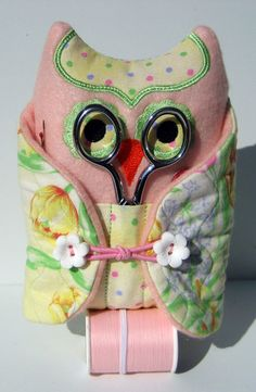 Sewing Kit Owl Spring Flowers Pink and Yellow