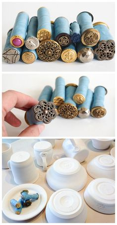 Made from polymer clay before – stick a button or other texture-y item to the end of a log of clay, bake, and voila: texture stick. KEYS stamped in silver and gold?