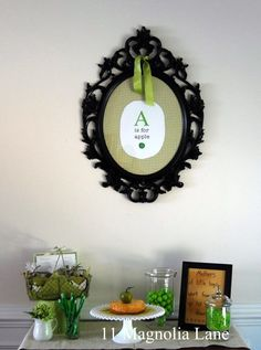 """""""Apple of my eye"""" themed baby shower in apple green and black from 11 Magnolia Lane, featuring apple recipes Apple Walnut Salad, How To Melt Caramel, Baby Shower Themes, Shower Ideas, Dinning Room Tables, Green Candy, Green Hydrangea, Ikea Frames, Antique Plates"""