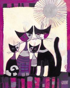 Concordia Prints by Rosina Wachtmeister Gatos Cats, Cat Quilt, Cat Posters, Sewing Art, Cat Colors, Cross Paintings, Cat Drawing, Mail Art, Oeuvre D'art