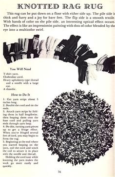 Knotted Rag Rug instructions - upcycle old T-shirts